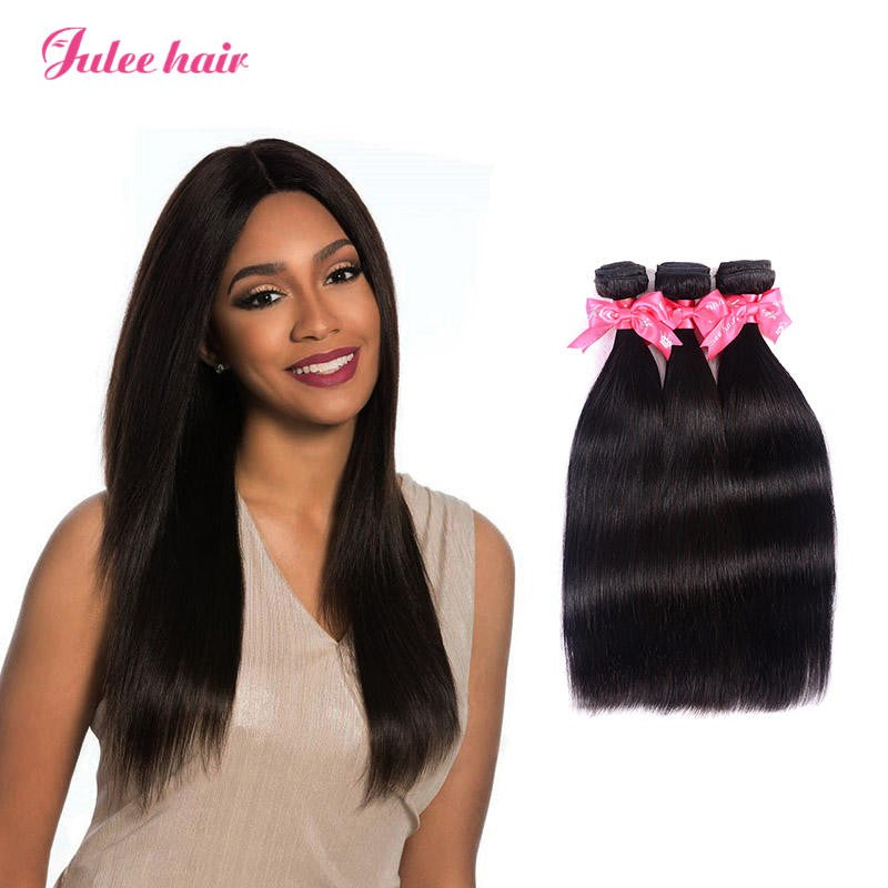 Cheap 3 Bundles Virgin Brazilian Silky Straight Human Hair Weaves 1b