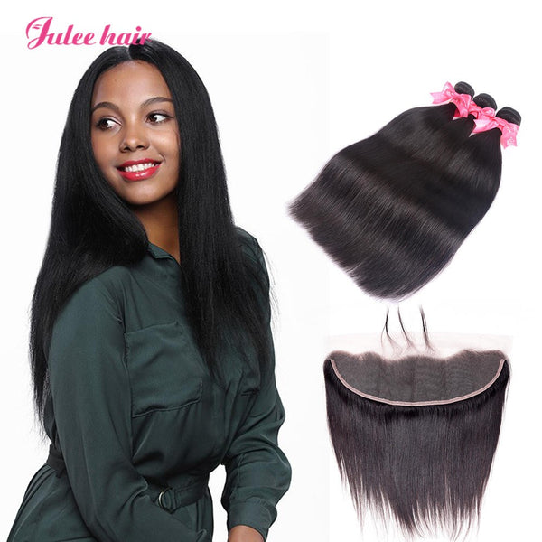 Cheap Virgin Brazilian Straight Hair 3 Bundles With 13*4 Lace Frontal