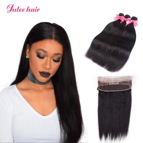 Hot Selling Brazilian Virgin Human Straight Hair 3 Bundles With 360 Lace Frontal
