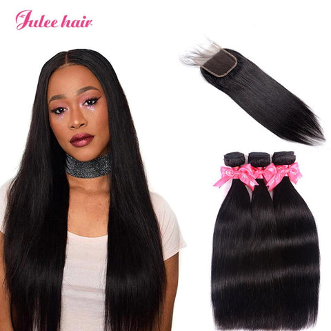 Real Brazilian Straight Virgin Hair 3 Bundles With Closure 4*4