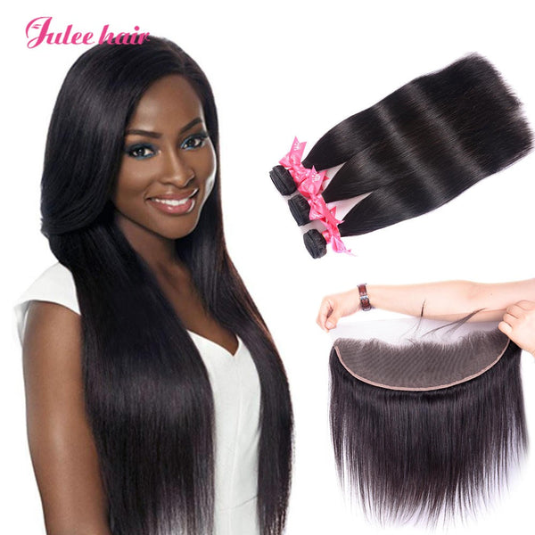 8A Grade Indian Straight Hair 3 Bundles With 13*4 Ear To Ear Lace Frontal