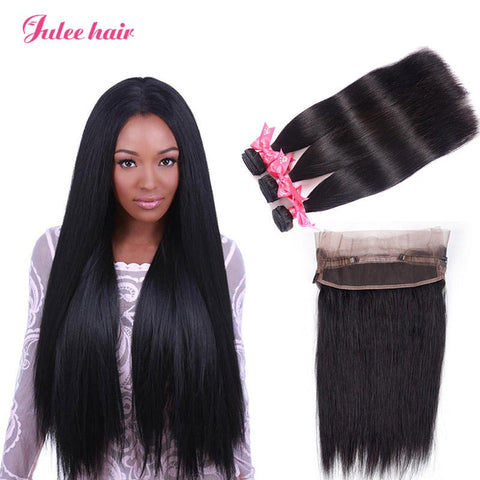 Cheap 360 Lace Frontal With 3 Bundles Straight Indian Virgin Human Hair Weave