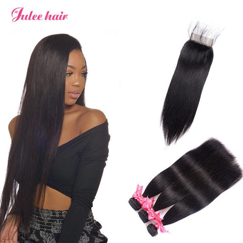 Fashion Trend Indian Straight Virgin Hair 3 Bundles With Closure 4*4