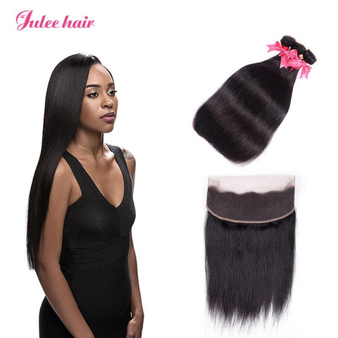Cheap 360 Lace Frontal With 3 Bundles Straight Malaysian Virgin Human Hair