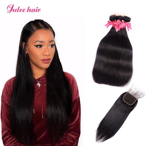 Grade 8A 3 Bundles Straight Virgin Malaysian Hair With 4*4 Lace Closure