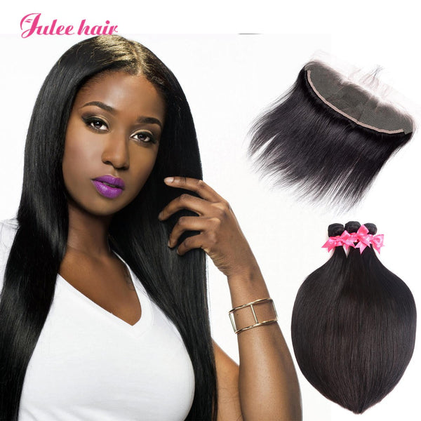 8A Grade Peruvian 3 Bundles Straight Hair With 13*4 Ear To Ear Lace Frontal