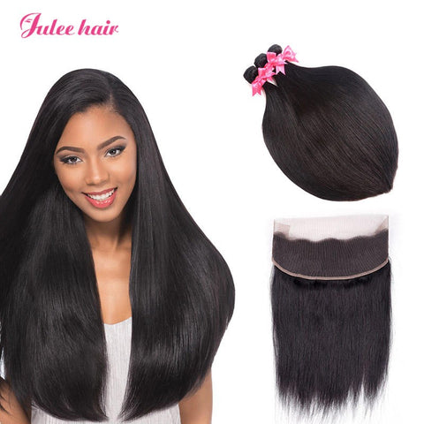 360 Degree Full Lace Frontal With Straight Peruvian Virgin Hair 3 Bundles Deal