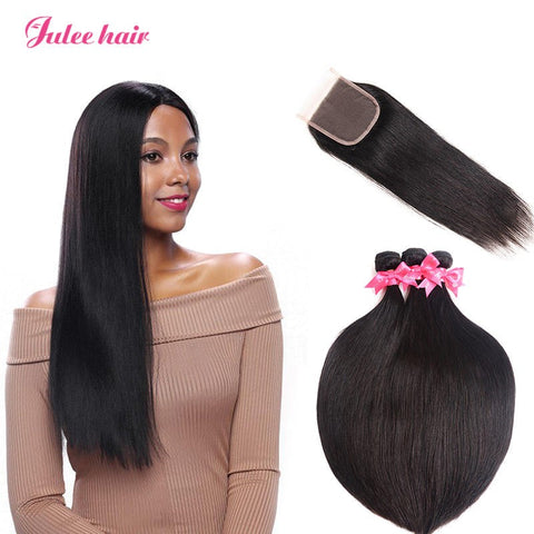 8A Quality 3 Bundles Straight Virgin Peruvian Hair With Closure 4*4