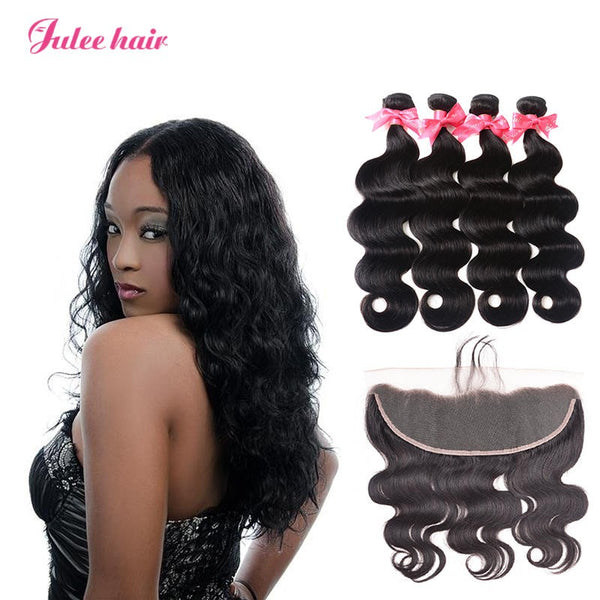 Body Wave 13*4 Lace Frontal Closure And Virgin Brazilian Hair Weave 4 Bundles Deal