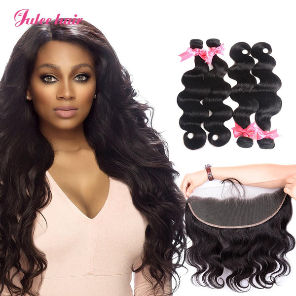 4 Bundles Virgin Indian Body Wave Hair With 13*4 Lace Frontal
