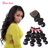Buy Best Malaysian Body Wave Hair 4 Bundles With Swiss Lace Closure
