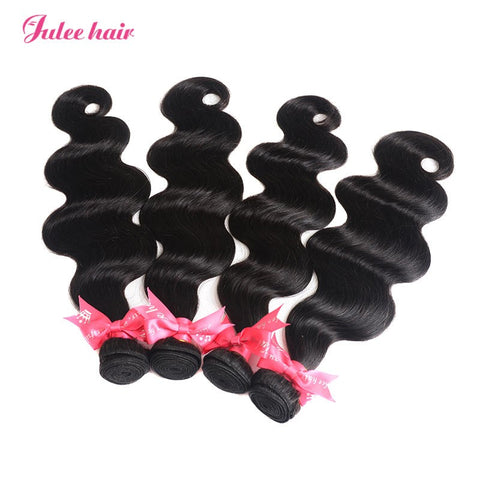 Julee Hair Affordable Brazilian Body Wave Hair 4 Bundles Deal 1b#
