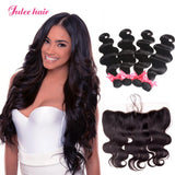 Peruvian Virgin Body Wave Hair Of 4 Bundles With 13*4 Lace Frontal