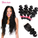 Peruvian Body Wave Hair 4 Bundles With Human Hair Lace Closure