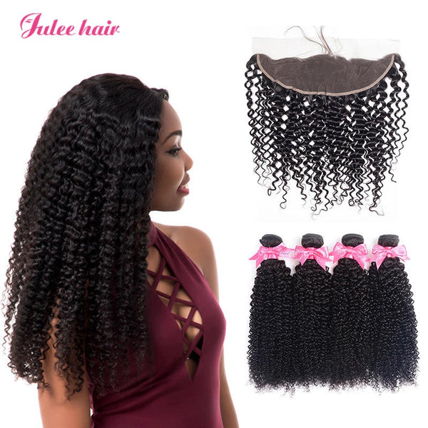 8A Unprocessed Virgin Brazilian Curly Weave Hair 4 Bundles With 13*4 Lace Frontal