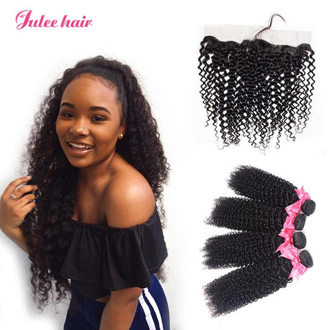 Best Rated 4 Virgin Peruvian Curly Hair Bundles With 13*4 Lace Frontal Ear To Ear