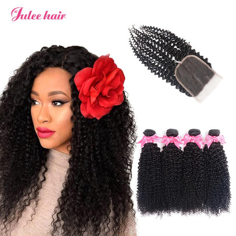 8A Unprocessed Virgin Brazilian Curly Wave Hair 4 Bundles With 4*4 Lace Closure