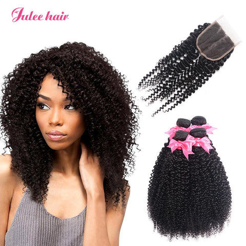 Best 4*4 Lace Closure With Malaysian Curly Hair 4 Bundles Virgin Human Hair
