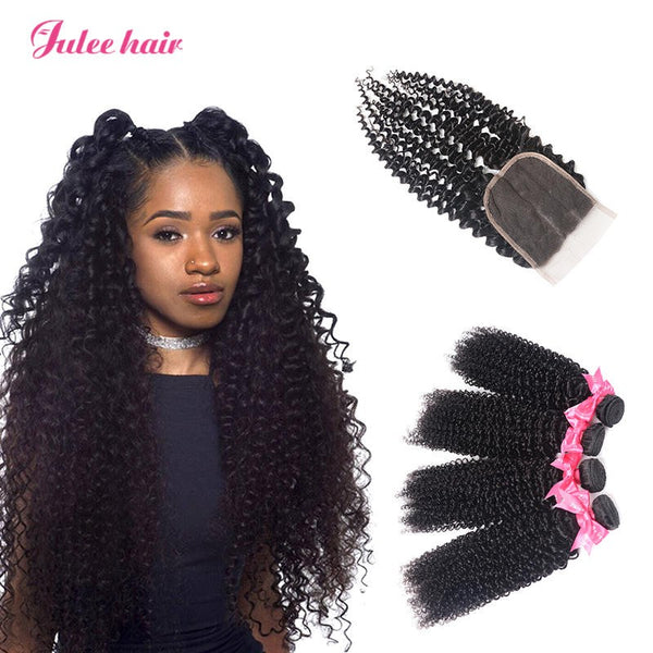 Best Peruvian Curly Hair 4 Bundles With 4*4 Lace Closure Hair Piece