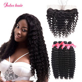 Brazilian Deep Wave Hair 4 Bundles With 13*4 Ear To Ear Lace Frontal