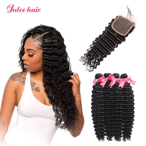 Top Selling Virgin Brazilian Deep Wave 4 Bundles With 4*4 Lace Closure