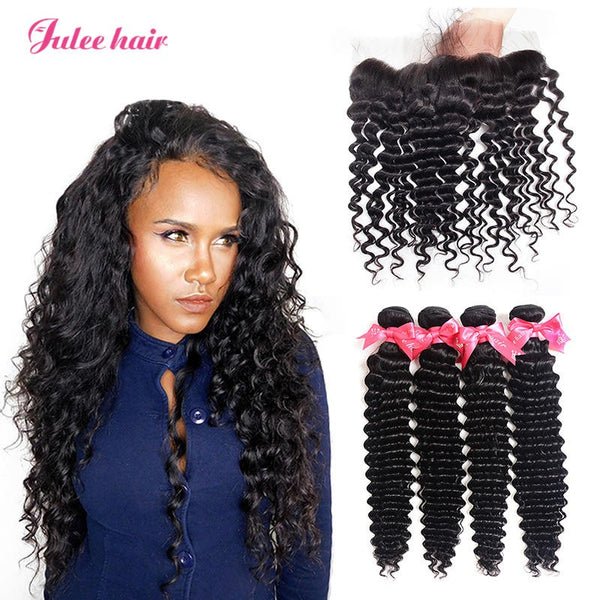 2017 Fashion Indian Lace Frontal 13*4 With Deep Wave 4 Bundles Deal