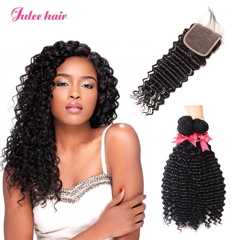 Virgin Malaysian Deep Wave Hair 4 Bundles With 4*4 Lace Closure
