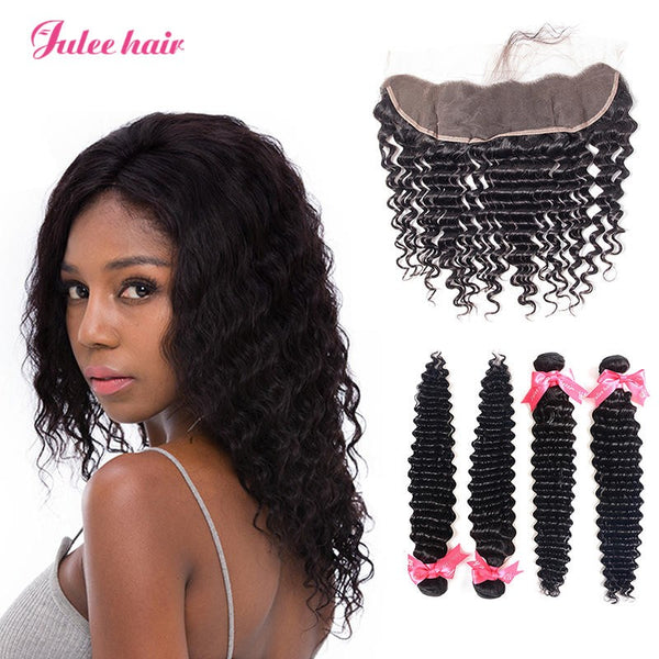 Lace Frontal 13*4 With Peruvian Virgin Hair Deep Wave 4 Bundles Deal