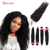 Best 4*4 Swiss Lace Closure With Peruvian Deep Wave Hair 4 Bundles