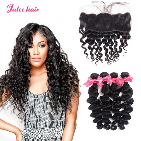 8A Unprocessed Virgin Brazilian Loose Deep Wave Hair 4 Bundles With 13*4 Lace Frontal