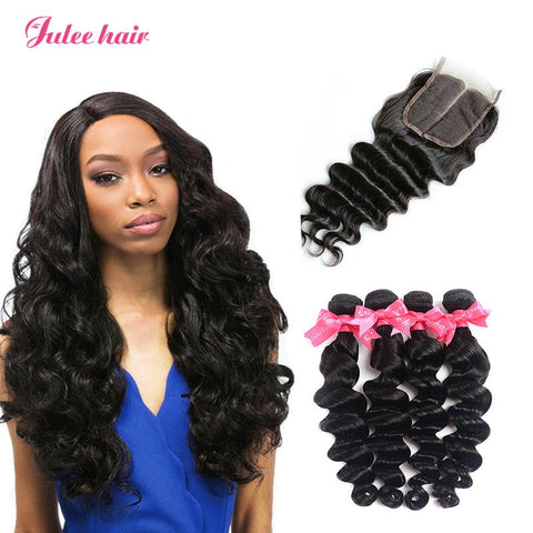 8A Unprocessed Virgin Brazilian Loose Deep Wave Hair 4 Bundles With 4*4 Lace Closure