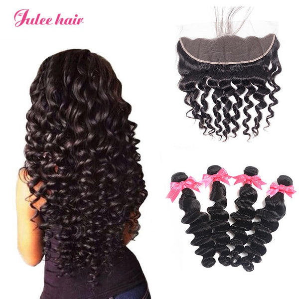 Best Indian Loose Deep Wave Human Hair 4 Bundles Deals With Lace Frontal Closure