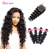 Best Indian Loose Deep Wave Hair 4 Bundles With Lace Closure Best Virgin Human Hair