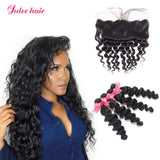 Unprocessed Virgin Malaysian Loose Deep Wave Human Hair 4 Bundles With Lace Frontal Closure