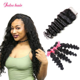 Best Malaysian Loose Deep Wave Hair 4 Bundles With Lace Closure Best Virgin Human Hair