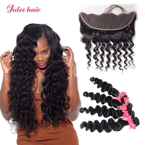Best Peruvian Loose Deep Wave Hair 4 Bundles With Ear To Ear Lace Front Closure