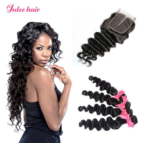 Good Peruvian Loose Deep Wave Hair 4 Bundles With Lace Closure Best Virgin Human Hair
