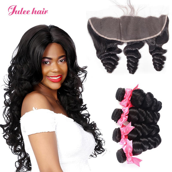 Best Brand Brazilian Loose Wave Hair 4 Bundles With Full Lace Frontals