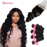 Unprocessed Virgin Brazilian Loose Wave Hair 4 Bundles With 4*4 Lace Closure