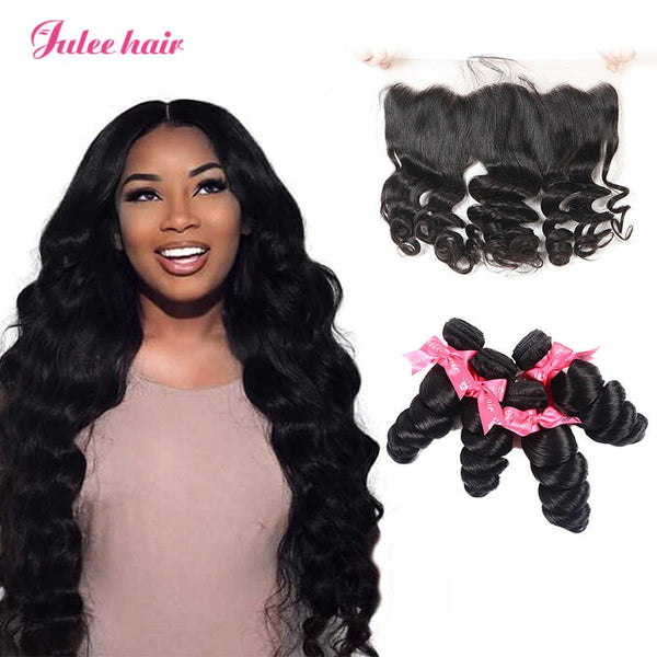 Best 13*4 Lace Frontal Closure And Virgin Indian Loose Wave Hair 4 Bundles