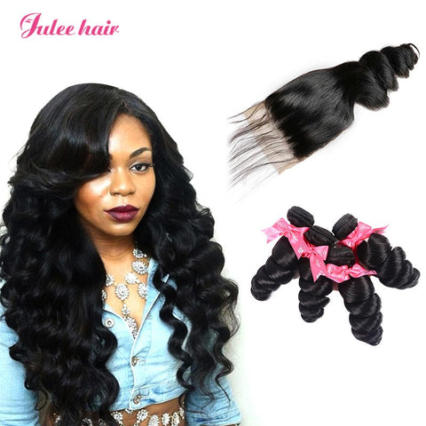 Indian Loose Wave Hair 4 Bundles With 4*4 Lace Closure Best Human Hair