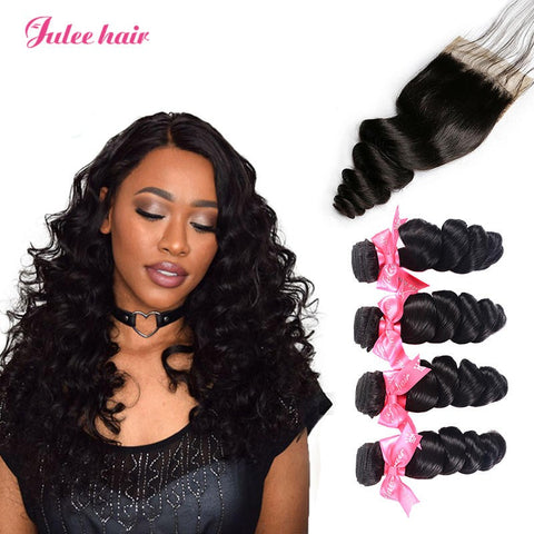 Peruvian Loose Wave Hair 4 Bundles With 4*4 Lace Closure Best Virgin Human Hair