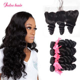New Look 13*4 Lace Frontal Closure And Virgin Peruvian Loose Wave Hair 4 Bundles