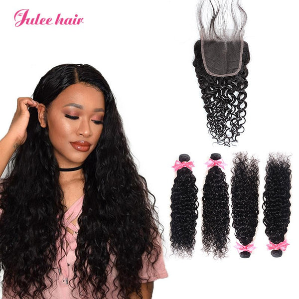 8A Unprocessed Brazilian Natural Wave Hair 4pcs With 4*4 Lace Closure