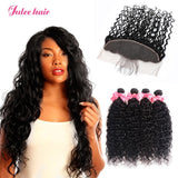 Virgin Human Hair Indian Natural Wave 4 Bundles With 13*4 Lace Frontal