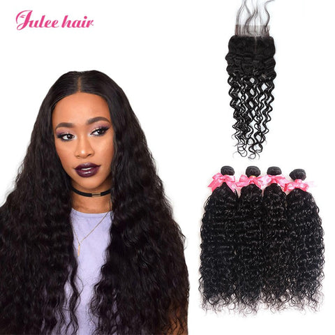 Indian Natural Wave Hair 4 Bundles With 4*4 Lace Closure Best Virgin Human Hair