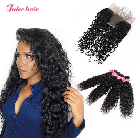 Virgin Malaysian Natural Wave Human Hair 4 Bundles With 13*4 Lace Frontal