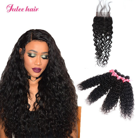 Malaysian Natural Wave Hair 4 Bundles With 4*4 Lace Closure Virgin Human Hair