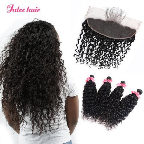 4 Bundles Peruvian Natural Wave Virgin Human Hair With 13*4 Lace Frontal