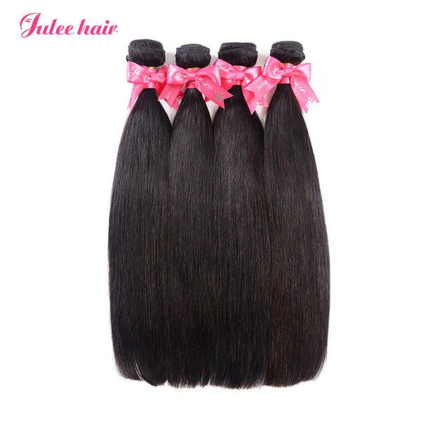 Julee Hair Unprocessed Brazilian Virgin Straight Hair 4 Bundles Deal 1b#